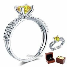 925 Sterling Silver Engagement Ring 1.25 Ct Round Canary Lab Created Diamond