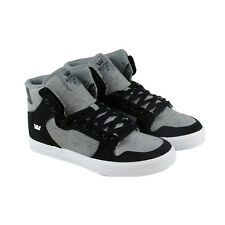 Supra Vaider Mens Black Gray Textile High Top Lace Up Sneakers Shoes