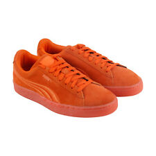 Puma Classic Badge Iced Mens Orange Suede Lace Up Lace Up Sneakers Shoes