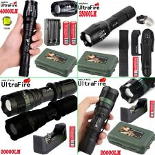 Tactical Zoomable Flashlight 5Mode 40000LM T6 LED Torch 18650 Battery Case QW