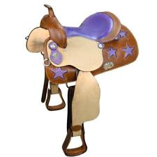 Tahoe Ostrich Print Purple Stars Horse Western Barrel Saddle Closeout