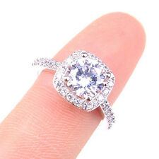 18K White Gold Filled Sparking Princess Cut Clear Crystal Cocktail Ring H1220