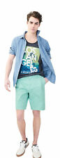 aeropostale mens geometric stretch flat-front chino shorts