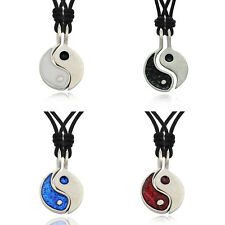 Colorful Ying Yang (2 Necklaces) Silver Pewter Necklace Pendant Jewelry
