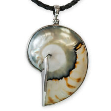 925 Silver Natural Nautilus Pendant mother-of-pearl shell ammonite fossil