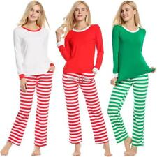 Women Long Sleeve Pajamas Sets Striped Soft Loose Nightwear Sleepwear RR6