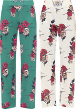 Plus Womens Floral Print Wide Flared Leg Palazzo Trousers New Ladies Pants