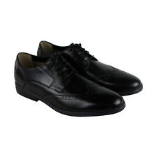 Clarks Yorkton Wing Mens Black Leather Casual Dress Lace Up Oxfords Shoes