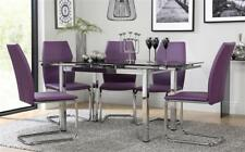 Space Chrome & Black Glass Extending Dining Table - with 4 6 Pica Purple Chairs