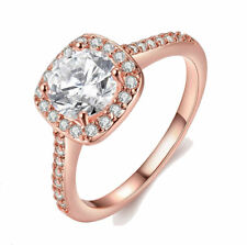 Rose Gold Plated Wedding Band Square Cubic Zirconia Ring