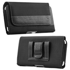 Luxmo Leather Belt Clip Pouch Holster Phone Holder Horizontal #13 Black