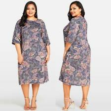 Plus Size Women Paisley Print 3/4 Sleeve Dress Evening Party Cocktail Dress Q4T0