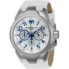 New Mens Technomarine Sea Dream 48mm White Leather Strap Mother of Pearl Watch