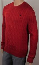 Polo Ralph Lauren Red Crewneck Cable-knit Sweater Navy Blue Pony NWT