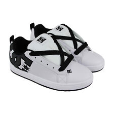 Dc Court Graffik Se Mens White Leather Sneakers Lace Up Skate Shoes
