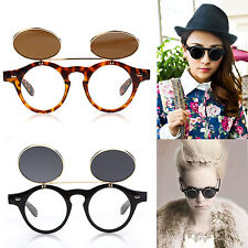 Flip up circle Steampunk Glasses Goggles sunglasses Retro vintage cyber punk HO