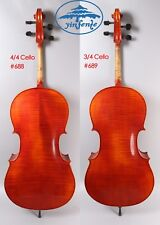 4/4 3/4 Cello hand Made Cello Old Flame Maple Spruce wood Ebony Fittings Master