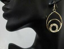 """Lovely Gold Tone Oval Circle Clear Crystal Chandelier Earrings 2 1/2"""" L"""