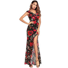 UK Womens Maxi Boho Floral Summer Beach Long Slit Evening Cocktail Party Dress