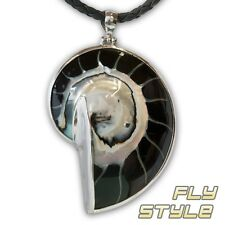 NAUTILUS 925 Silver Pendant Ammonit FOSSIL NECKLACE LADIES MOTHER OF PEARL SHELL