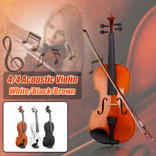 NEW 4/4 FULL SIZE WOODEN VIOLIN CASE BOW INSTRUMENT ROSIN STRINGS BEGINNERS