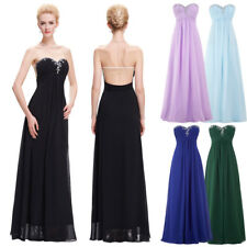 Ball Evening Dress Prom Size Chiffon Party Sexy Long Strapless Bridesmaid Gown