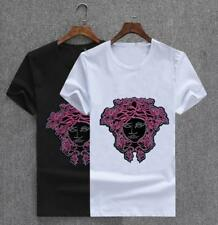 Fashion Men's Sequins Pink Head Printing Short Sleeve Tee Casual Cotton T-Shirts