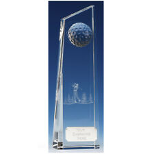 """Glass Crystal GOLF Trophy FREE ENGRAVING Personalised Engraved Award 7"""" or 8.75"""""""
