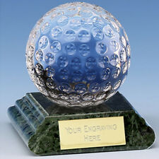 """Glass GOLF Ball Trophy FREE ENGRAVING Personalised Engraved Award 2.5"""" or 3"""""""
