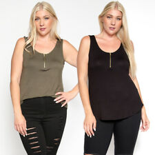 TheMogan Women's Plus Size Zip Front Scoop Neck Casual Jersey Tank Top TEE