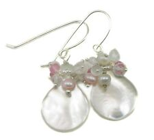 Mother of Pearl Earrings White Cluster Teardrops MOP Simple 14k Gold Sterling
