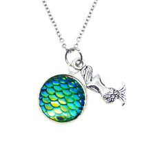 1PC FairyTale Mermaid Pendant Necklace With Stainless Steel Chain For Girl Women