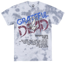 THE GRATEFUL DEAD LIGHTENING SKULL TIE DYE T-SHIRT GREY ROCK MUSIC TEE MENS