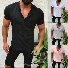 Mens Short Sleeve T-Shirts Casual Slim-Fit Cotton Tee Button Down Shirts Tops 50