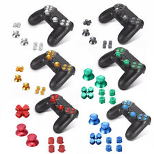 Metal ABXY Buttons Thumbsticks Thumb Joystick Caps D-Pad Kit For PS4 Controller