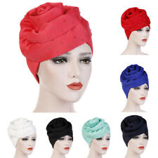 Ladies Women Floral Muslim Ruffle Cancer Chemo Hat Beanie Turban Head Wrap Cap