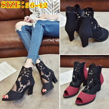 Ladies Mesh Lace Sandals Block Heels Shallow Mouth Nightclub Fish Mouth Shoes GI