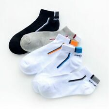Mens Socks 5 Pairs Cotton Low Cut Ankle Size 7-9 Pack Black Solid Color Casual