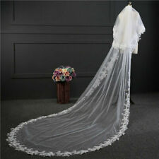 2 Layers White Ivory Wedding veils Lace Edge Cathedral Long Bridal Veil Comb