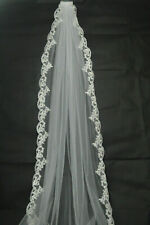 New 1 layer White/Ivory Cathedral Lace Edge Bridal Veils Wedding Veil With Comb