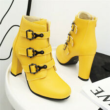 Womens Dress Shoes Ladies High Heel Buckle Strap Ankle Boots Round Toe Zip UP