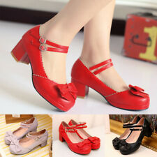 Women Princess Lolita Shoes Mid Heel Ankle Strap Bow Buckle Mary Jane Dress Pump