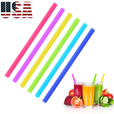 Reusable Silicone Drinking Straws Set Long Flexible Straws with Cleaning Brushes