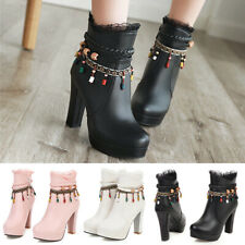 Women Chunky High Heel Beads Strap Platform Ankle Boots Round Toe Dress Shoes