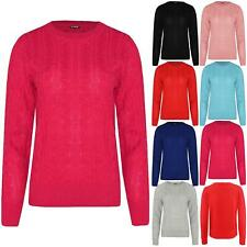 Womens Ladies Chunky Cable Knitted Long Sleeve Oversized Baggy Knit Jumper Top
