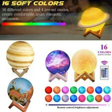 3D Moon Earth Saturn Galaxy LED Lamp Planet Touch Remote Night Light Xmas Gift