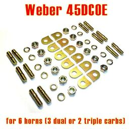 Installation kit pads tabs lock Weber 45 DCOE for 6x velocity stack air horn
