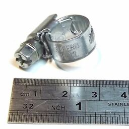 "Steel Worm Gear Hose Clamp Clip size 8-12mm 1/3-1/2"" Pipe Tube"