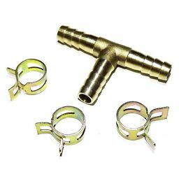 "Brass fuel hose tee 3 way pipe for carburetor fitting 8mm 5/16"" + clips"