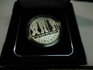 2010 W VETERANS DISABLED FOR LIFE UNC SILVER DOLLAR W/ BOX & COA